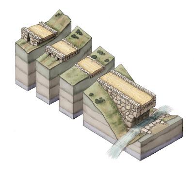 Spaccato assonometrico ideale, rappresenta le alcune tipologie di strade, ponti e canali sotterranei di scolo in Argolide