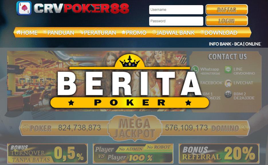 CRVPoker88 Agen Poker Dan BandarQ Terbaik Dan Terbesar Di Indonesia