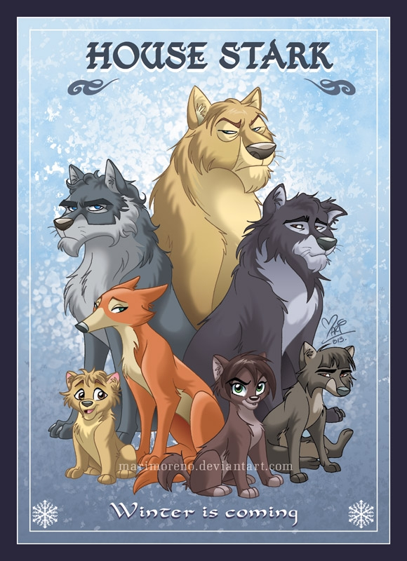 02-House-Stark-Mariana-Moreno-Game-of-Thrones-Houses-in-Cartoon-form-www-designstack-co