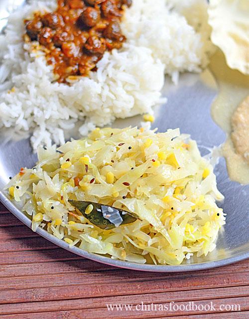 Cabbage poriyal with moong dal