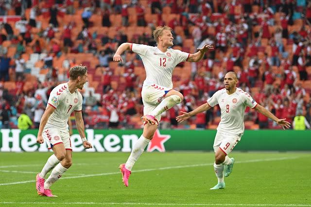 Denmark forward Dolberg vs Wales - Euro 2020