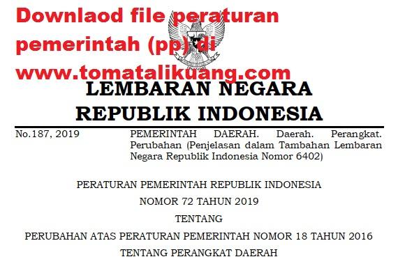 peraturan pemerintah pp nomor 72 tahun 2019; tomatalikuang.com