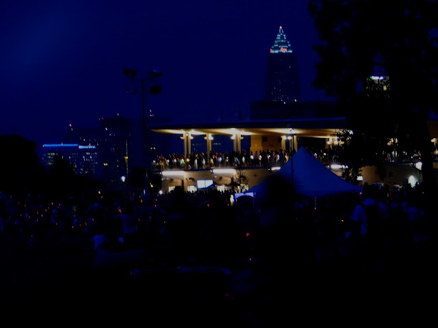 Metroparks Edgewater Beach House at night for the Centennial Celebration