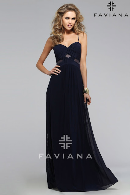 Faviana Dress with Sweetheart Style in Navy Blue