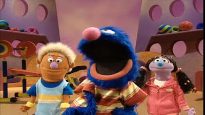 Grover begins exercise with his assistants Bobby and Sissy. Grover first demonstrates jumping. Sesame Street Happy Healthy Monsters
