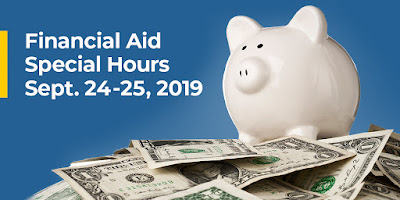 Picture of a piggy bank sitting on top of a pile of one dollar bills. Financial Aid Special Hours Sept. 24-25, 2019