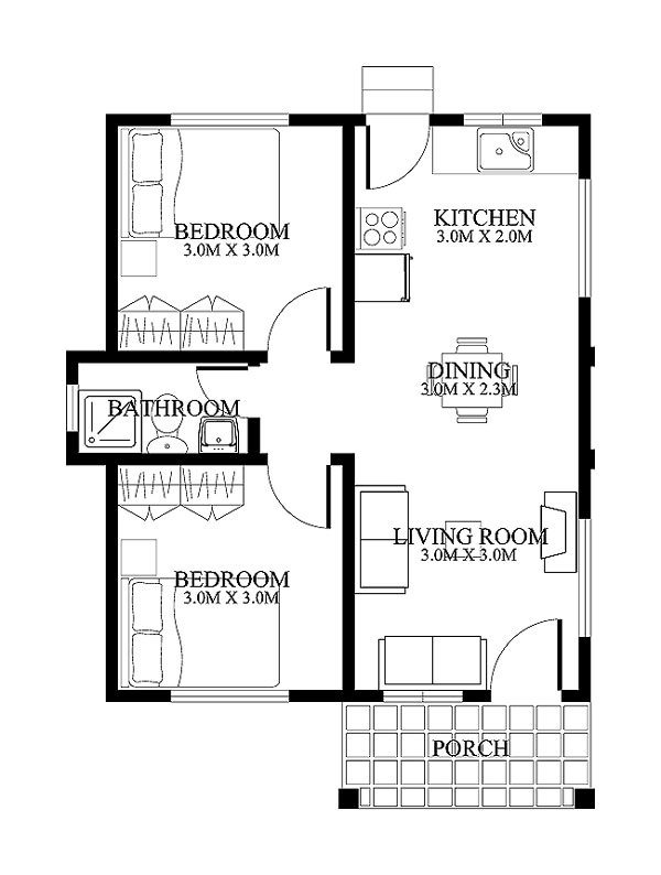 this is a modern house with three bedrooms this house consists of the entrance porch living dining kitchen dirty kitchen masters bedroom - Designer House Plan 120 165