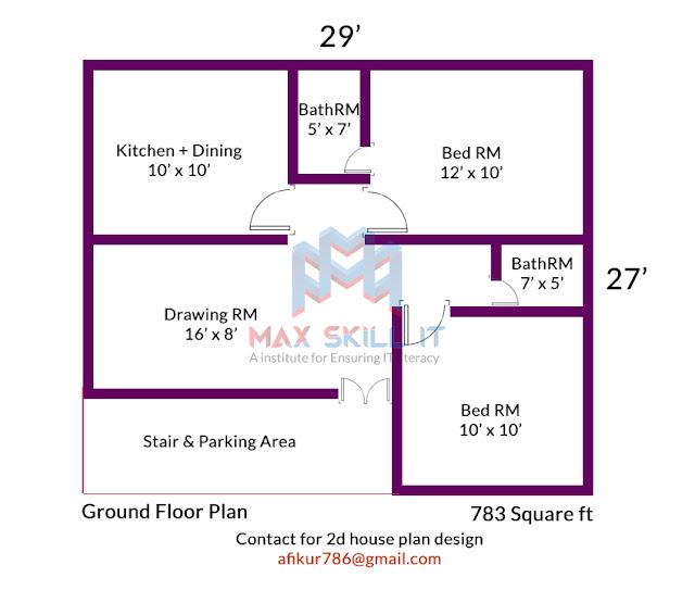 2 bedrooms 2 bhk house plan design