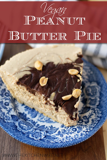 A slice of the easy vegan peanut butter pie on a blue plate with the title above.
