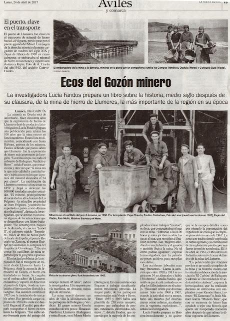 Gozón minero, mina de Llumeres, Lucía Fandos