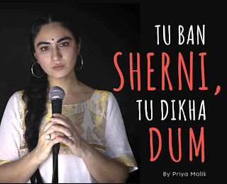 """After a long time Priya Malik back with a Hindi poem named """"Tu Ban Sherni Tu Dikha Dum"""". Which is a Hindi poem inspired by a web series show called 'Aarya', written by Priya Malik. Aarya has Susmita Sen in the lead role. In this show she is the mother of three children and the wife of a businessman played by Chandrachur Singh, who is shot dead in broad daylight. She does everything to protect her three children while fighting tough situations.  This poem by Priya Malik inspires women to become frank and strong."""