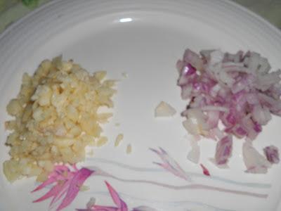 chopped onion and garlic