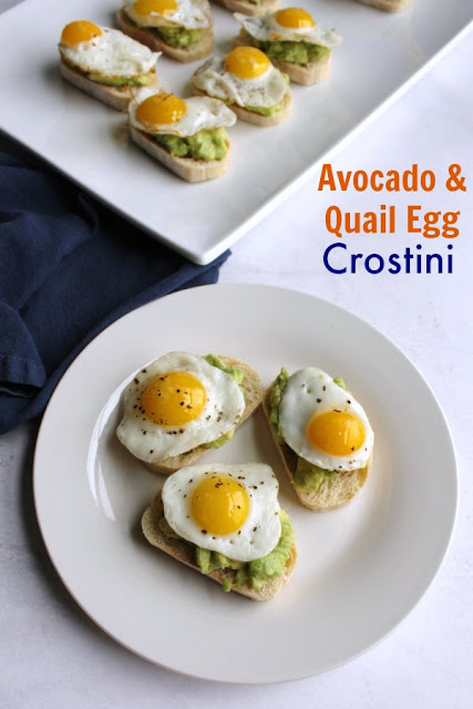 Mini versions of avocado toast with eggs would make a great appetizer, light lunch or fun breakfast or brunch option.  The crostini come together quickly and the quail egg sits on top like the crowning jewel!