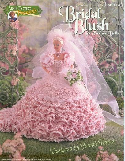 Vestido de noiva de crochê para bonecas Barbie - Receita em inglês