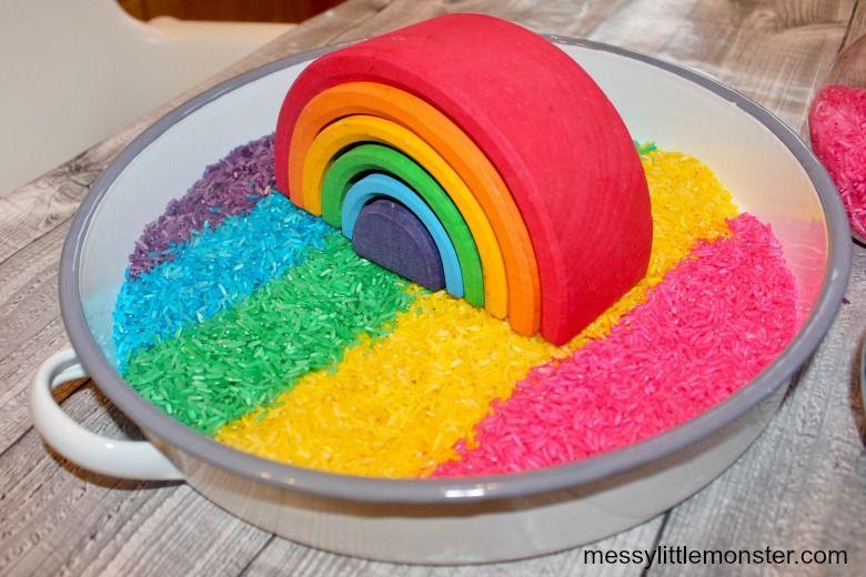 rainbow rice recipe - sensory play recipes for kids