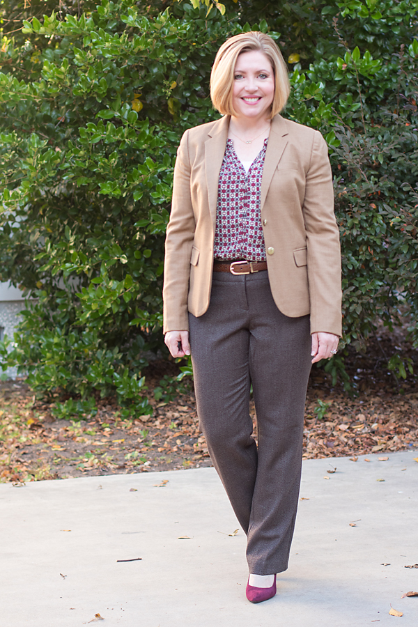 camel blazer, brown tweed pants, fall color combos