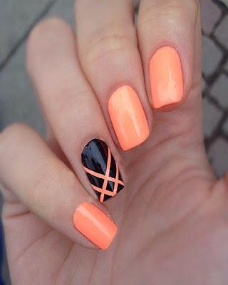 Diseño de uñas llamativo gelish naranja