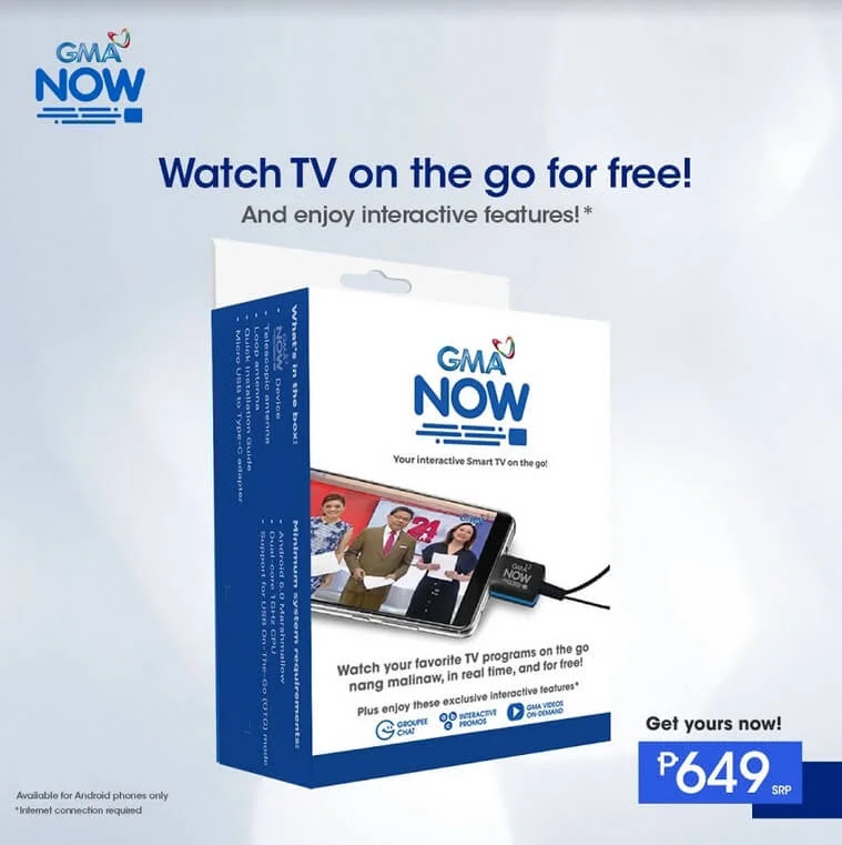 GMA Now Digital TV Receiver for Android Smartphones and Tablets is now Available for Only Php649