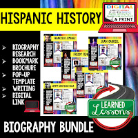 ➤Hispanic History Month Activities, Digital Link for Google Classroom, Biography Research Profile Page, Biography Bookmark Brochure, Biography Pop-Up Foldable for Interactive Notebook, Biography Writing Extension and Checklist, Poster Pennant , General Instruction Page, HISPANIC HISTORY PROFILES