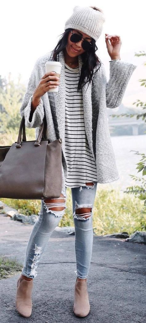 awesome fall outfit / hat + striped top + grey cardigan + bag + ripped jeans + boots