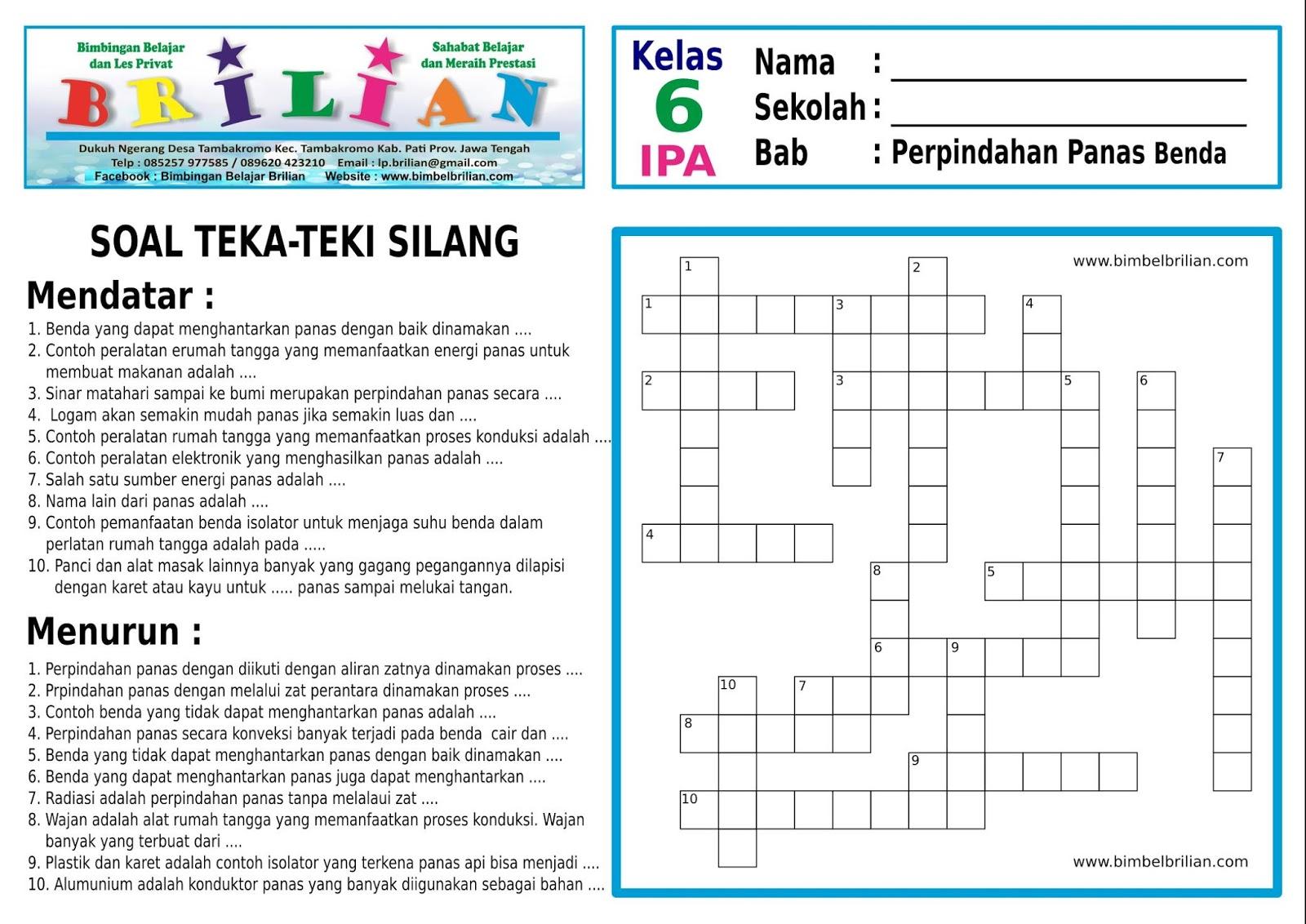 Soal Teka-Teki Silang ( TTS ) IPA SD Kelas 6 Bab Hantaran ...