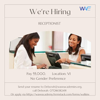 URGENT VACANCY ALERT FOR THE ROLE OF A RECEPTIONIST AND FLOOR MANAGER
