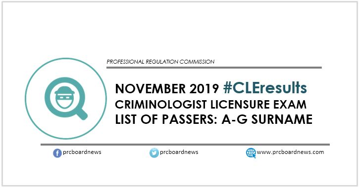 A-G Passers List: November 2019 Criminology board exam CLE result