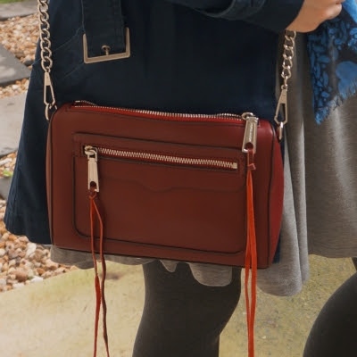 navy macintosh jacket with Rebecca Minkoff Avery crossbody bag in burgundy | awayfromblue