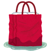 紙袋に入った不審物のイラスト(手提げ付き)