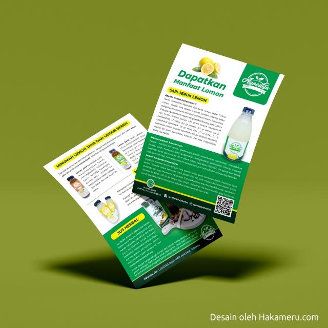 Desain flyer produk minuman lemon untuk usaha kecil UKM UMKM IKM - Hakameru.com