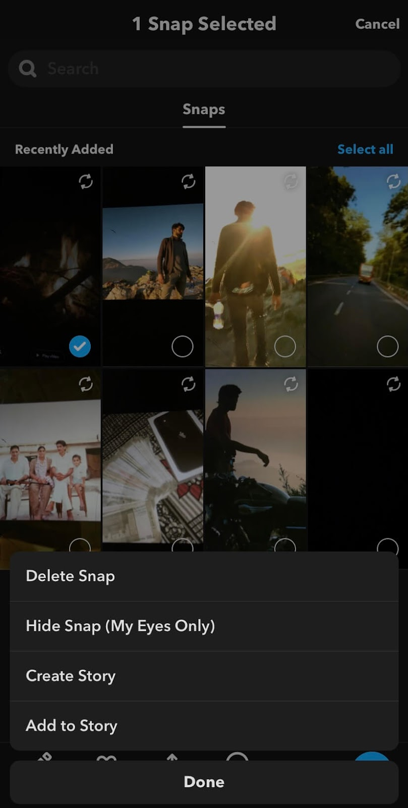 Hide Snap (My Eyes Only) option on Snapchat