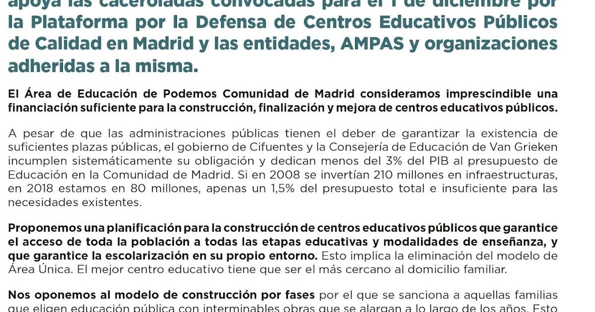 Mareaverde apoyo del rea de educaci n de podemos for Correo comunidad de madrid