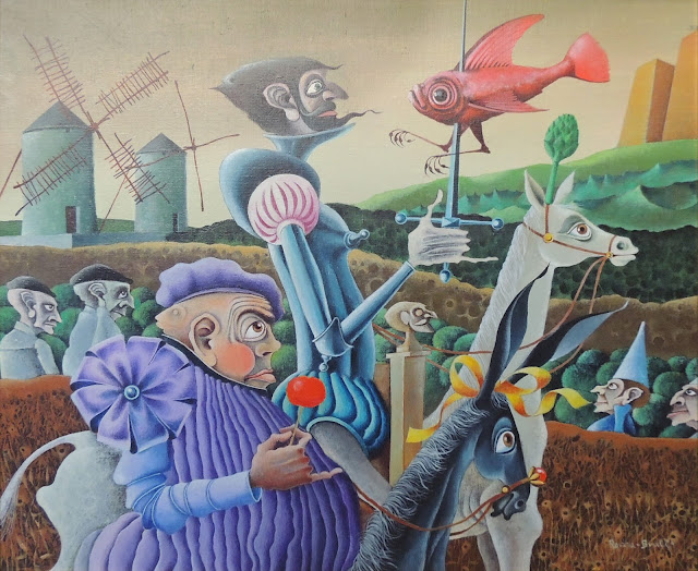 Rovira Brull pintura surrealista quijote sancho panza