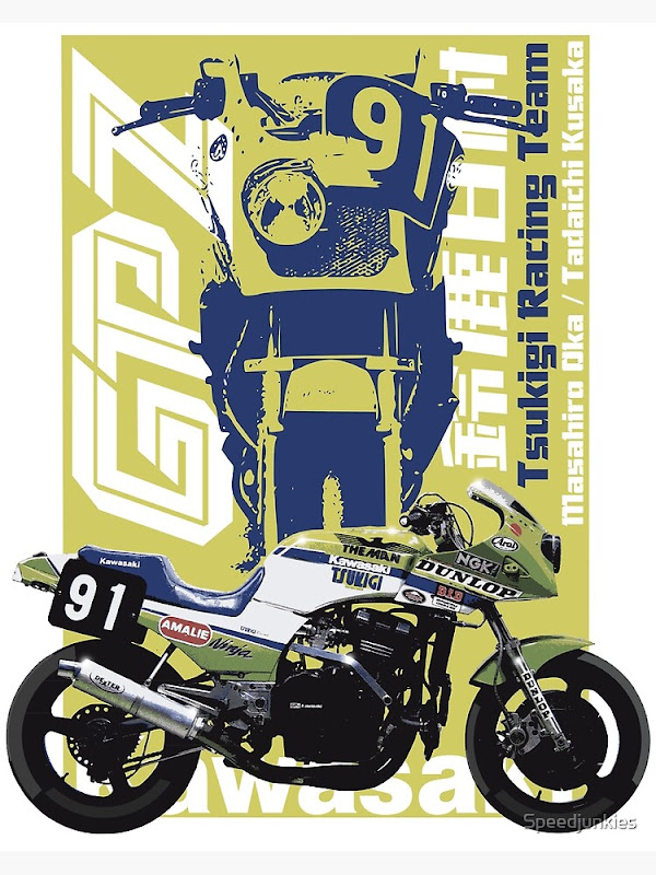 Tsukigi Race Team Kawasaki GPZ750, 1986 Suzuka 8 Hour Endurance Race - Illustration by speedjunkies.gr
