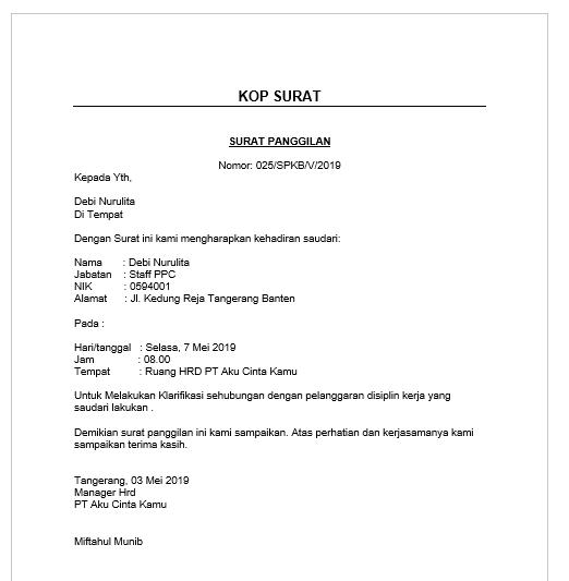 Contoh Surat Pemanggilan Karyawan Bermasalah