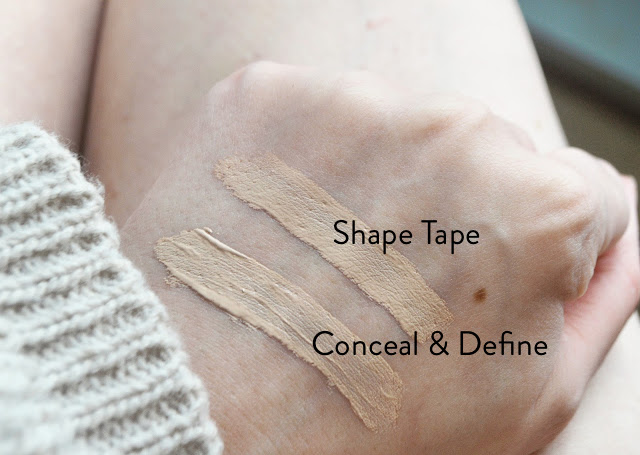 Makeup Revolution Conceal & Define in Shade C3 vs Tarte Shape Tape in Light Comparison Review | Lovelaughslipstick Blog