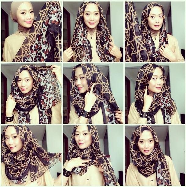 Cara Hijab Segi Empat Yang Sederhana dan Praktis 5