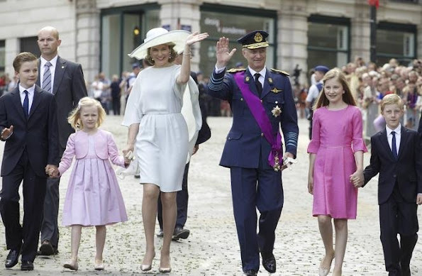 King Philippe of Belgium and Queen Mathilde of Belgium their children Princess Eleonore, Prince Emmanuel, Prince Gabriel and Crown Princess Elisabeth attend a religious service