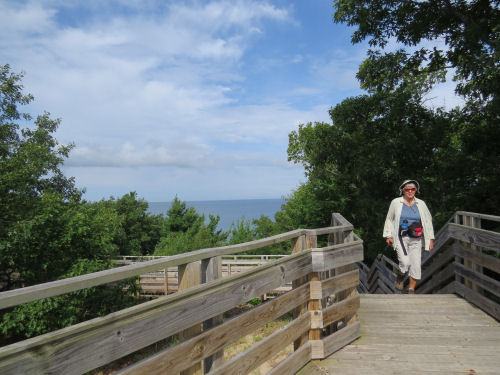 climbing to an overlook platform at Lake Michigan