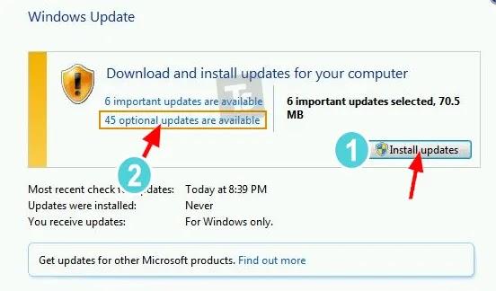 تثبيت التحديثات ويندوز 7