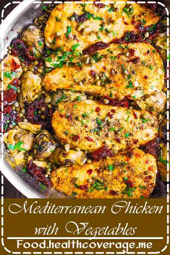 Delicious Skillet Chicken with Sun-Dried Tomatoes, Artichokes, and Capers.  If you love Mediterranean recipes, this chicken dish is for you!