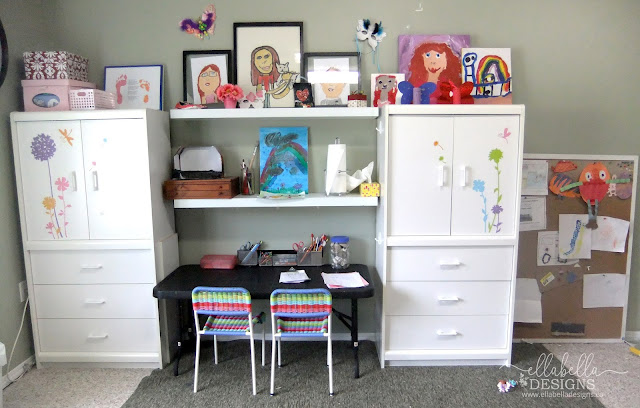Homework Craft Station for Kids with Kids Artwork Displayed