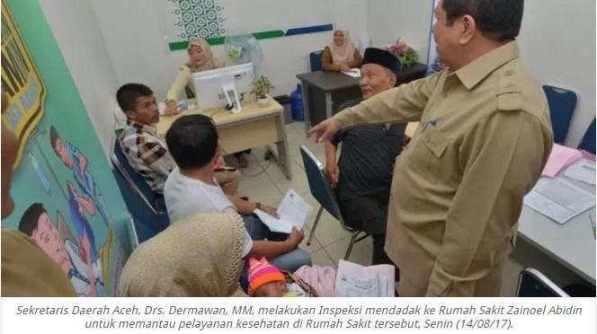 Sekretaris Daerah Aceh melakukan Inspeksi mendadak ke RSUDZA