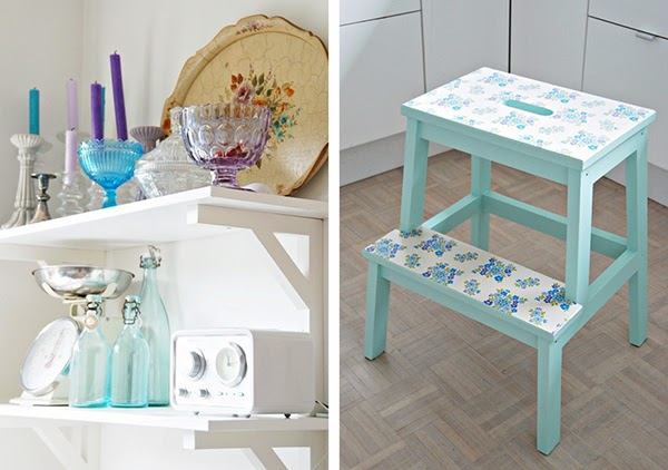Painted and decoupage/wallpapered ikea step stool