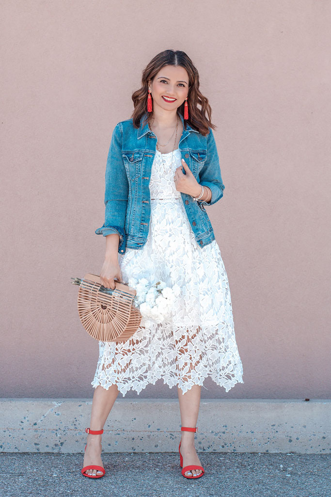 White Lace Crochet Slip Dress Denim Jacket Red Heels Cult Gaia Basket Bag Dupe Aria Red Strap Heel Sandals Blogger Outfit Alfred Sung Aria Heels