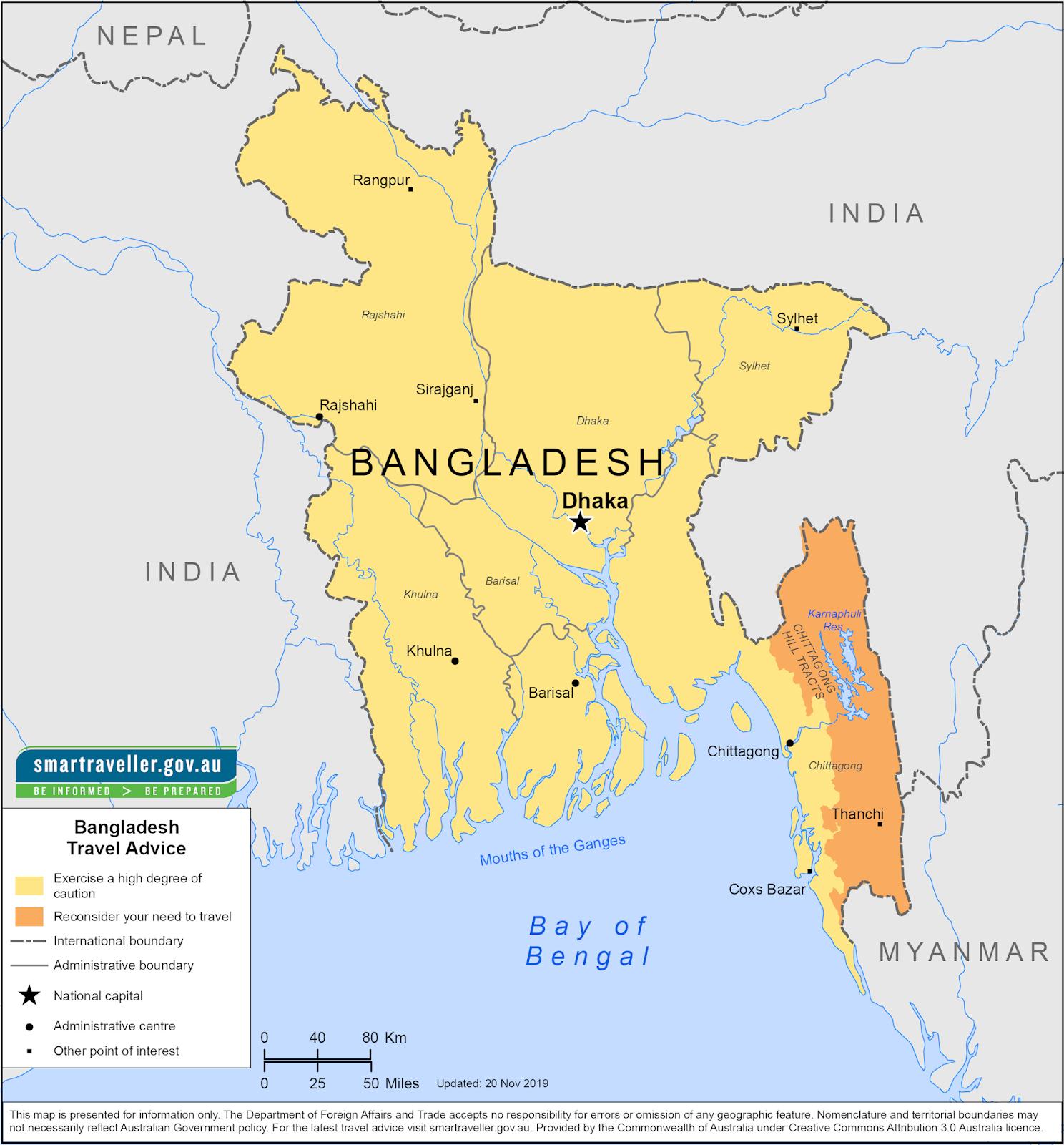 बांलादेश के जिलों व जनपदो के नाम