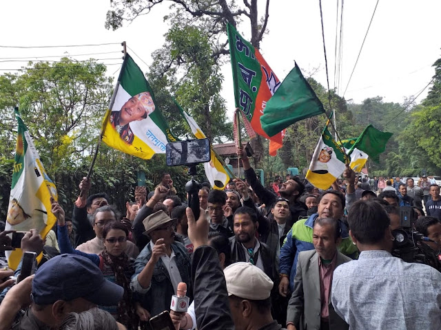 BJP and Gorkha Janmukhti Morcha members celebrating victory in Darjeeling