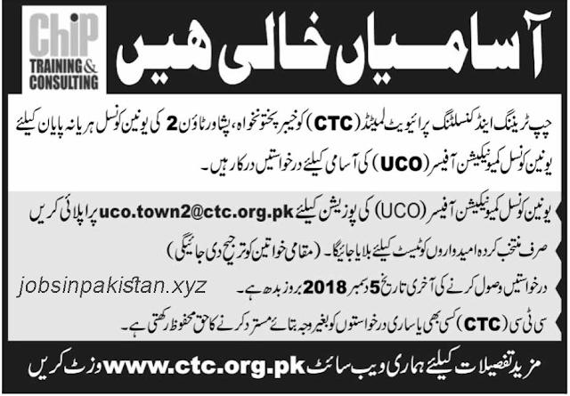 Advertisement for CTV Jobs 2018 (Peshawar)