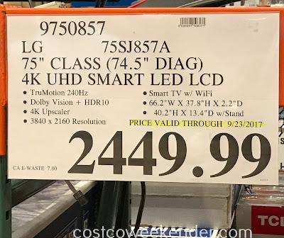 Deal for the LG 75SJ857A 75-inch tv at Costco