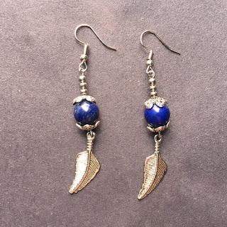 Lapis Lazuli Bead Dangle Earrings